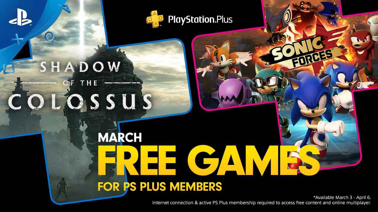 PlayStation March's Free PS Plus Games: Shadow of the Colossus & Sonic Forces