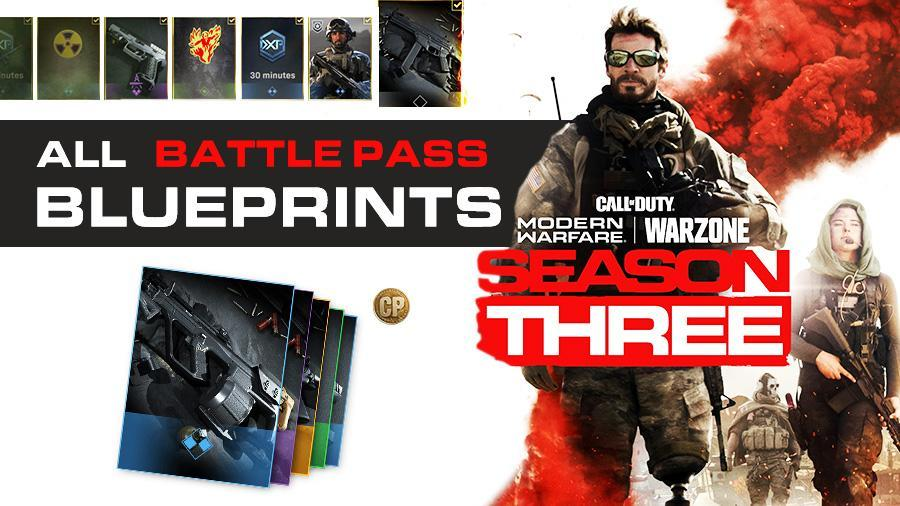All COD Modern Warfare Season 3 Battle Pass Blueprints (2020) Call of Duty S3 Weapons Rewards