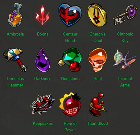 hades items list